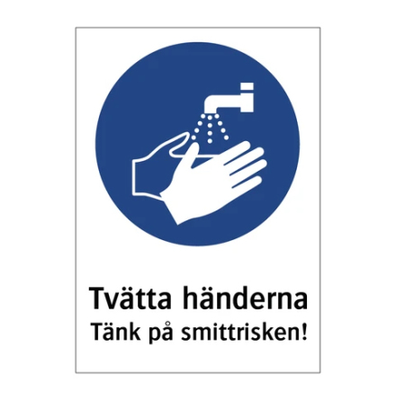 Infoskylt - Tvätta händerna