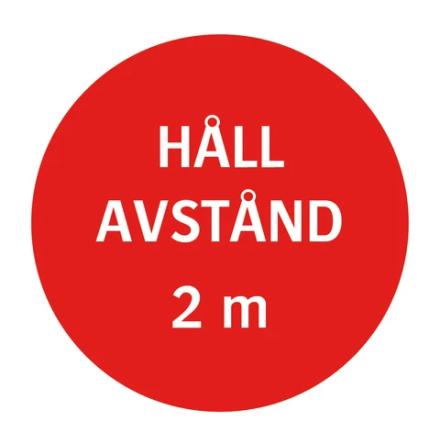 Golvdekal - Håll avstånd 2m (röd)